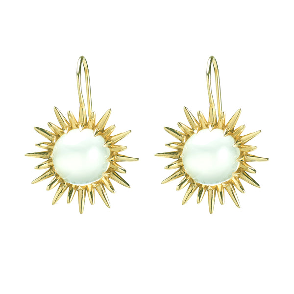 Double Sun Drop Earrings with Moonstone