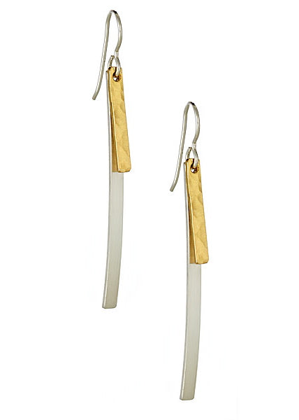 Sterling silver and hammered gold bar dangle earrings on white background.