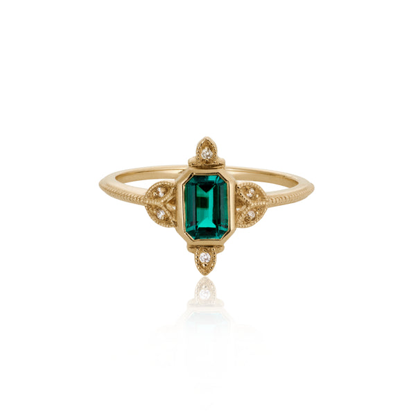 Ashley Emerald 14K Gold Engagement Ring Viviana Langhoff AdornmentandTheory