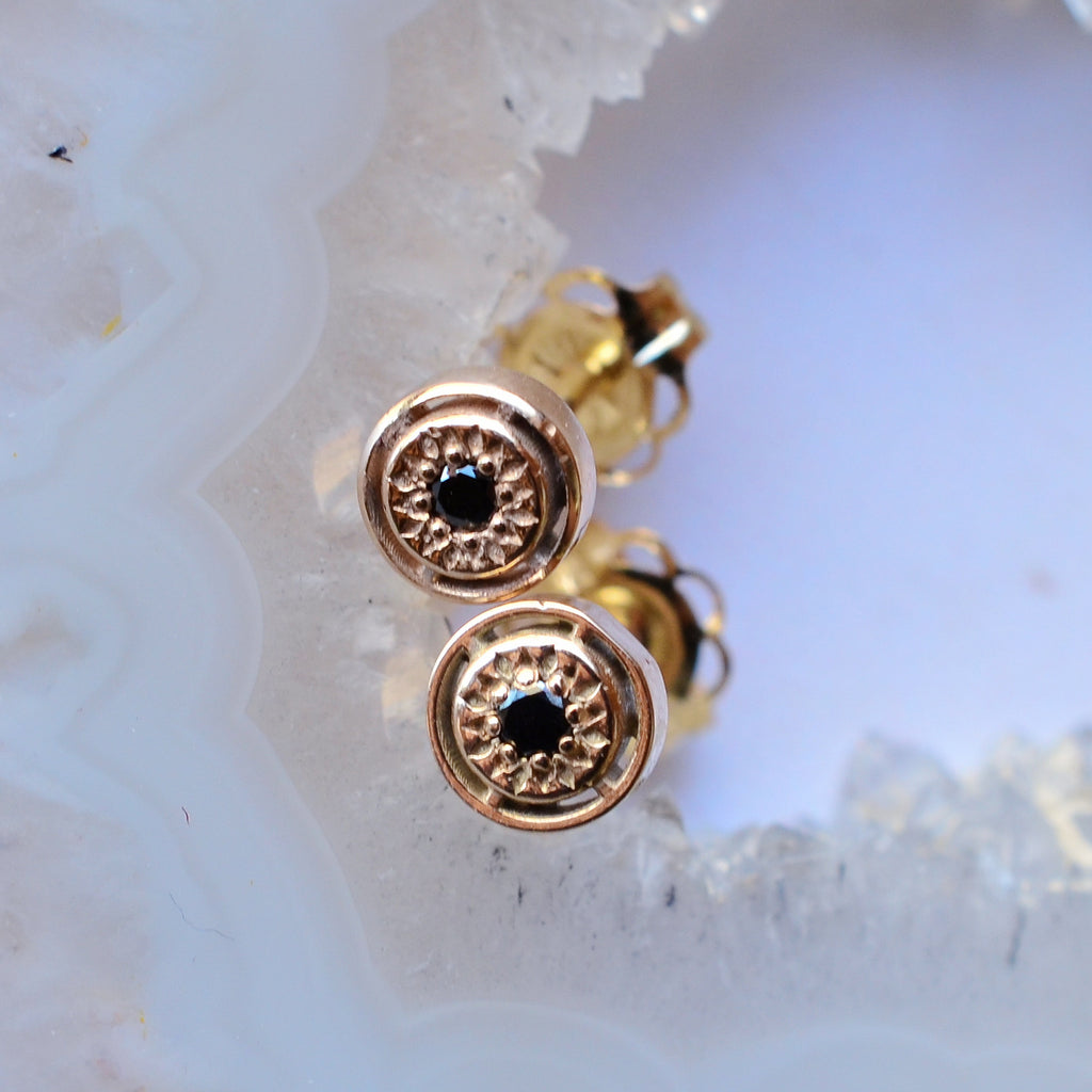 14K Gold Black Diamond Studs