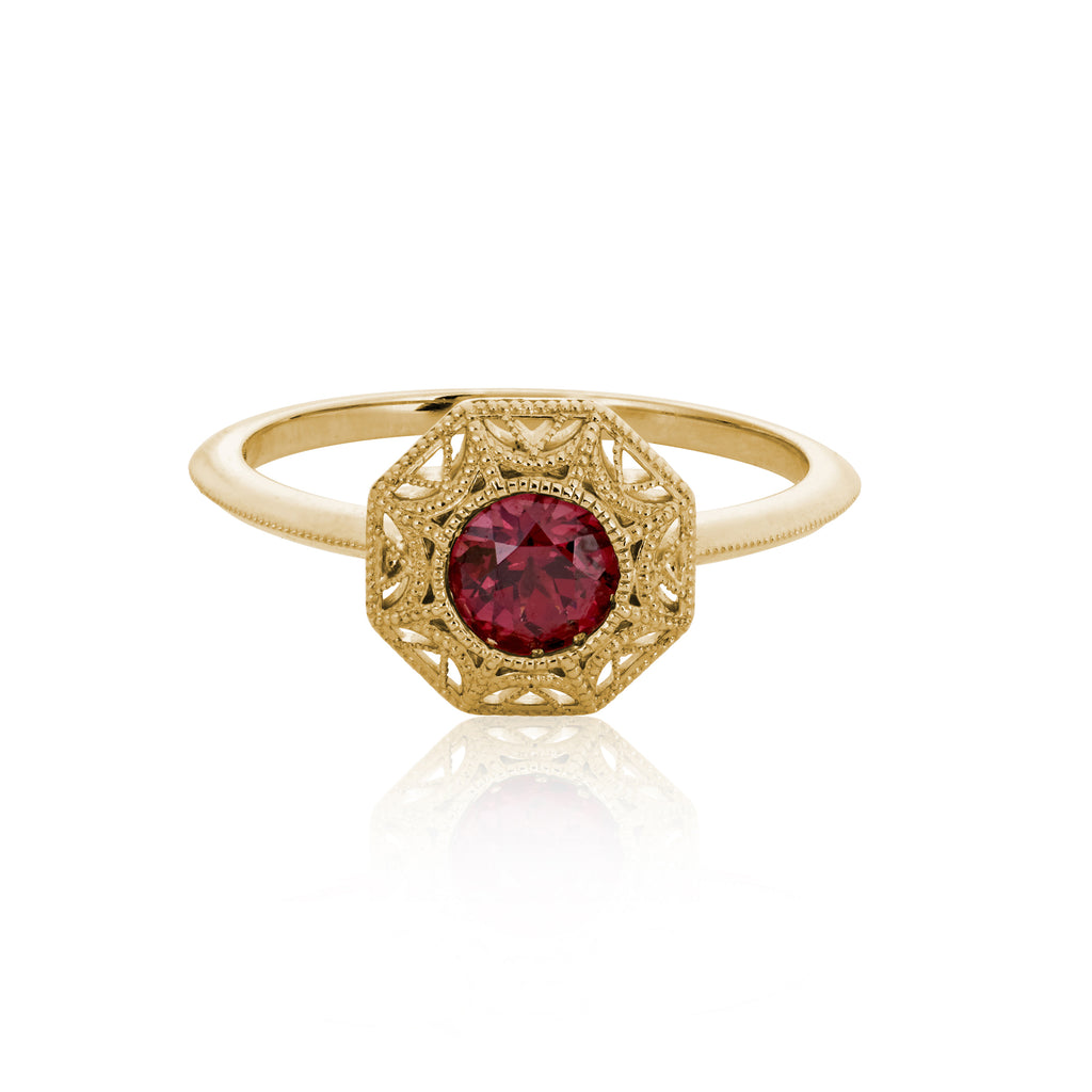 """Frida"" Rhodolite Garnet + Yellow Gold Ring"