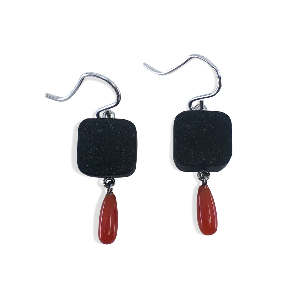 Square Stone + Coral Earrings