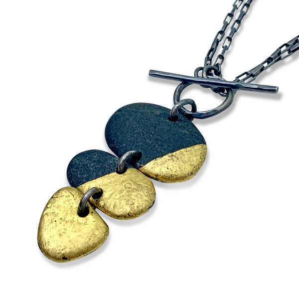 3 Stone Gold + Black Toggle Necklace