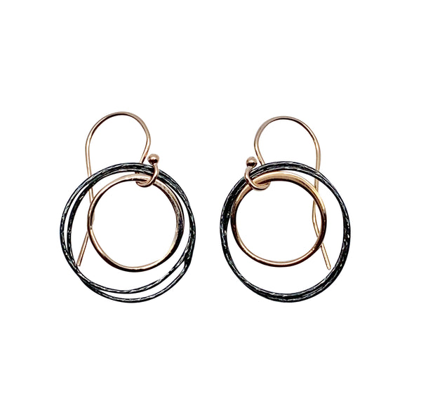 Ox + Rose Gold Double Circle Earrings