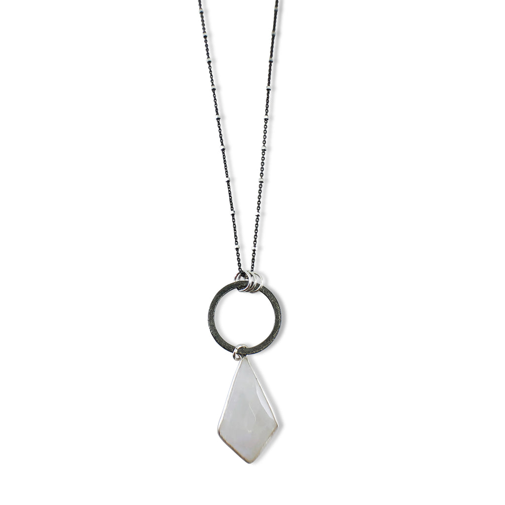 Elongated Diamond Moonstone Pendant