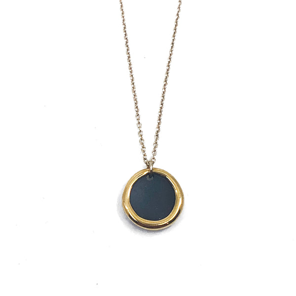 Gold Rimmed Circle Porcelain Necklace