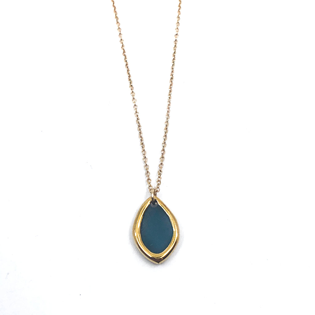 Gold Rimmed Marquise Porcelain Necklace
