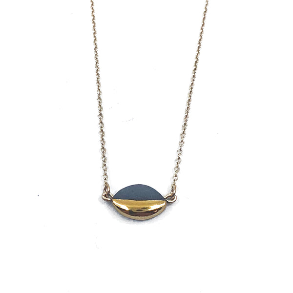 Gold Dipped Marquise Mini Horizontal Porcelain Necklace