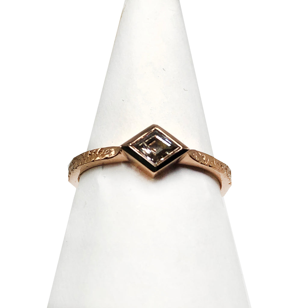 Rose Gold Diamond Ring Flat Band