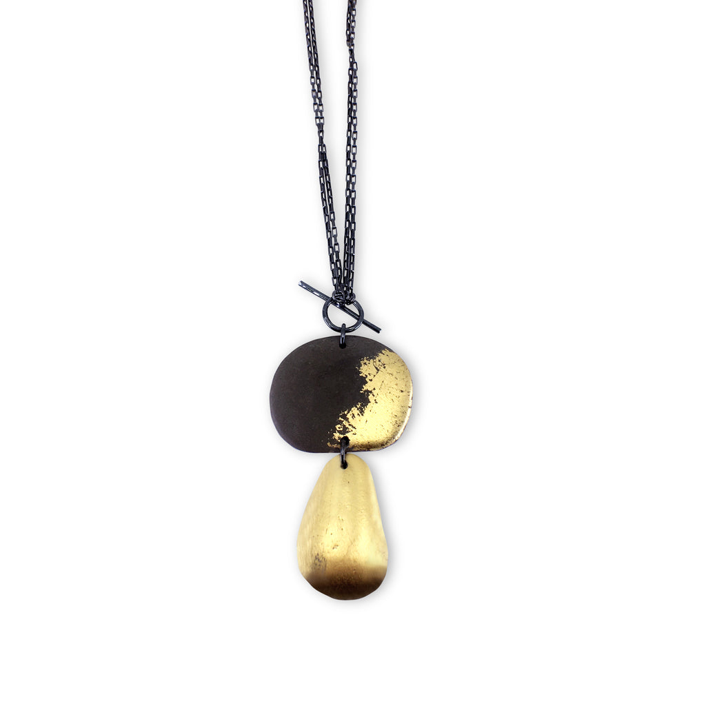 Two Stone 23k Gold Leaf Toggle Necklace