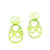 Chartreuse sculptural double lace statement earrings on white background.