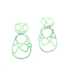 Mint sculptural double lace statement earrings on white background.