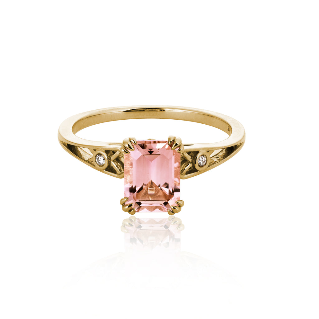 """Michelle"" Pink Tourmaline + Yellow Gold Ring"