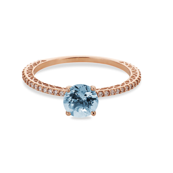 """Signature Solitaire"" 14K Rose Gold + Aquamarine"