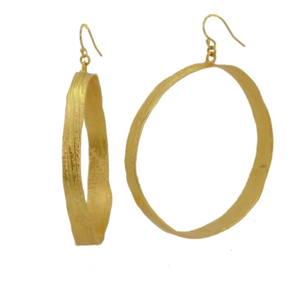22K Gold Plated Etched Hoops