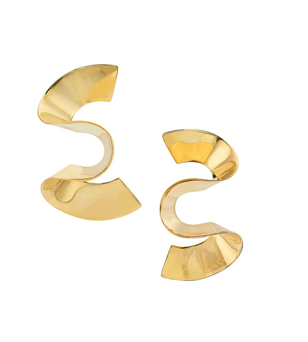 Gold Wave 24K Plated Earrings