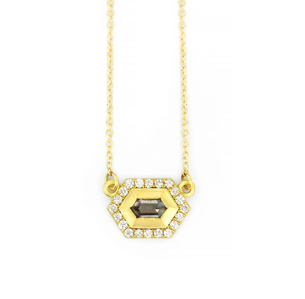 Geo Hexagon Halo Necklace with Grey Diamond