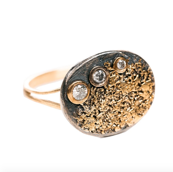 Gold Dusted Diamond Signet Ring