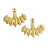 Gold petal shaped earring jackets on white background.