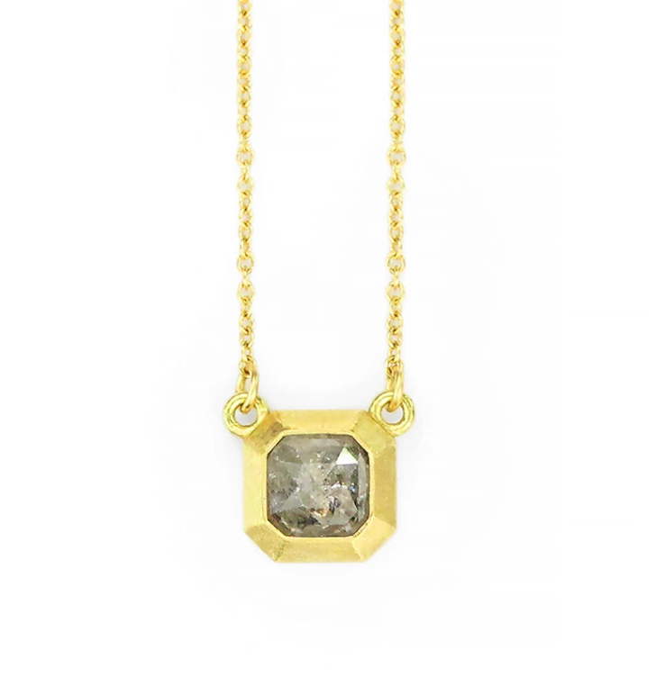 Rustic Geo Bezel Necklace + Grey Asscher Diamond