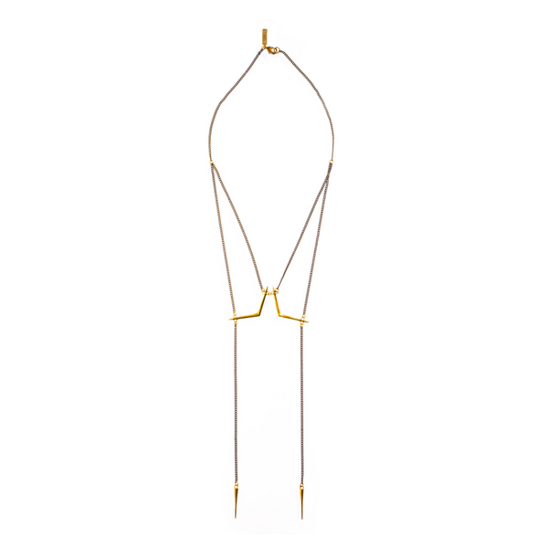 Double Ray Bolero Necklace - Brass