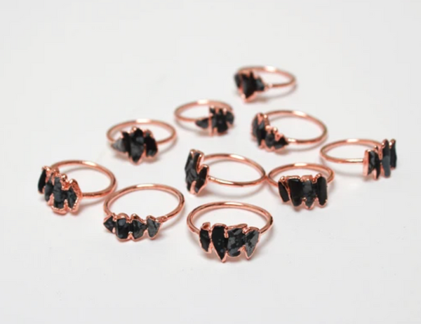 Obsidian Copper Rings
