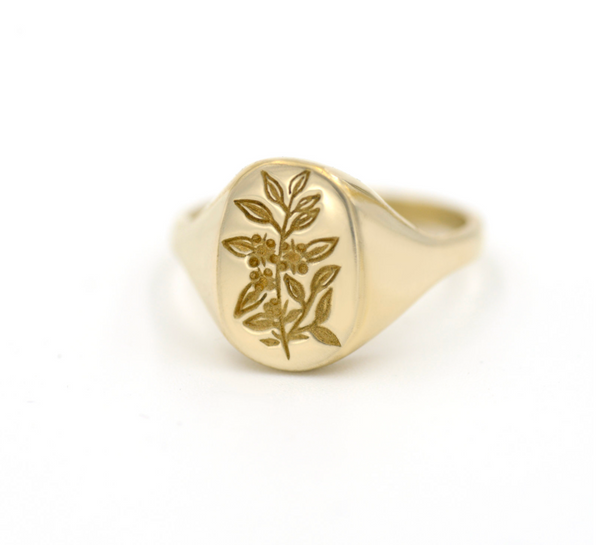 PREORDER Tea Leaf Signet Ring