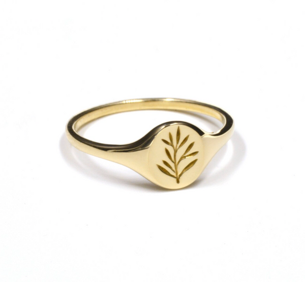 PREORDER Mini Olive Branch Signet Ring