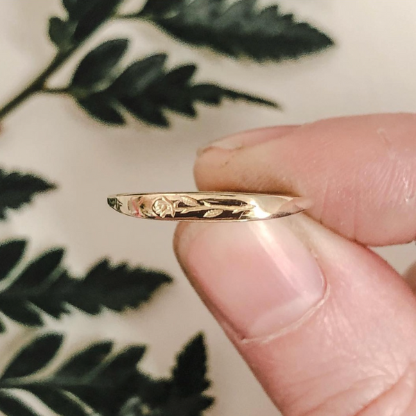 PREORDER Engraved Brass Rosebud Ring