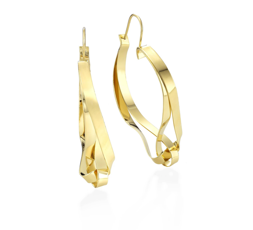 Gold intertwined hoop earrings, on white background.