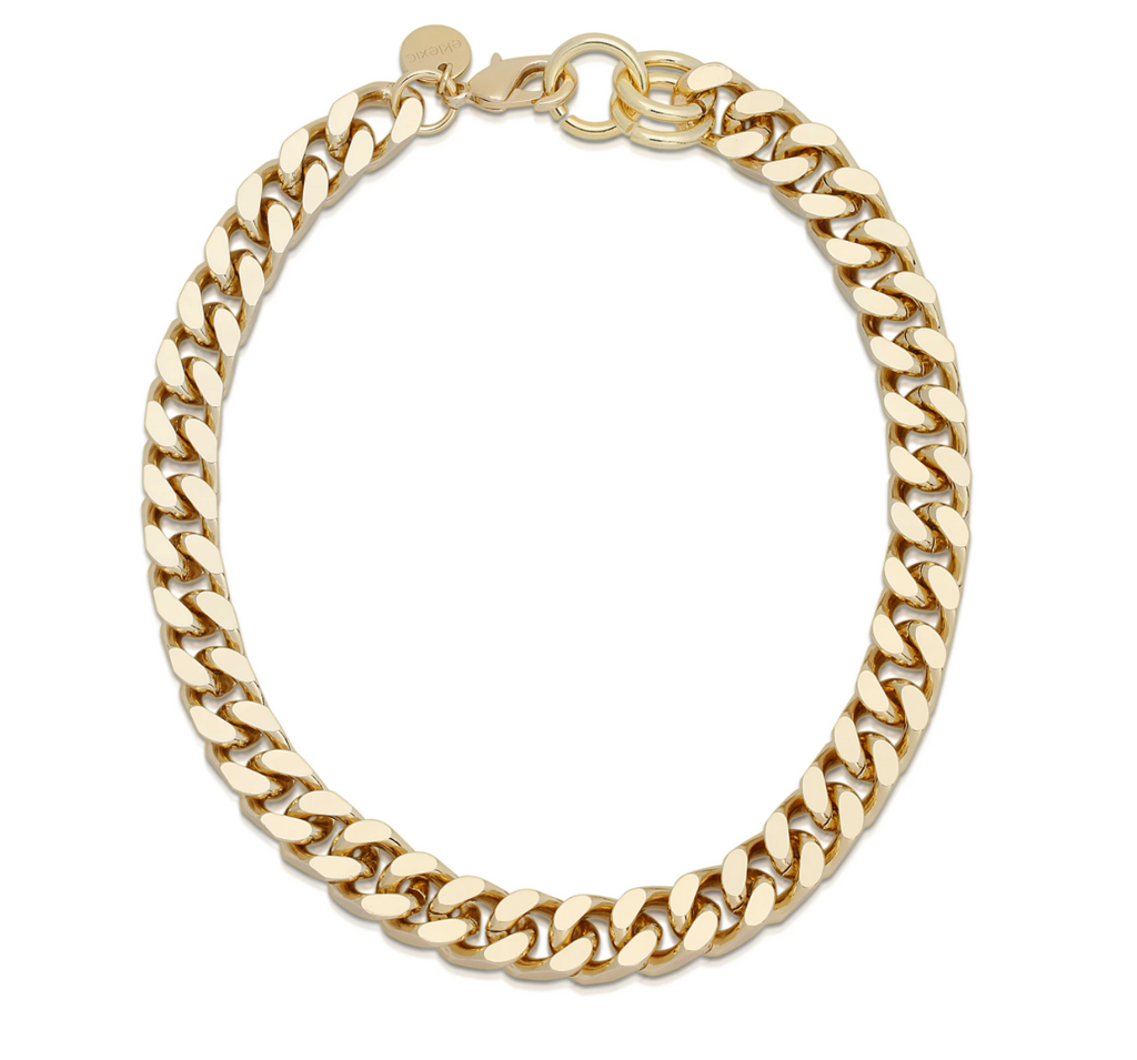 10k gold plated brass chain necklace, close up on white background.
