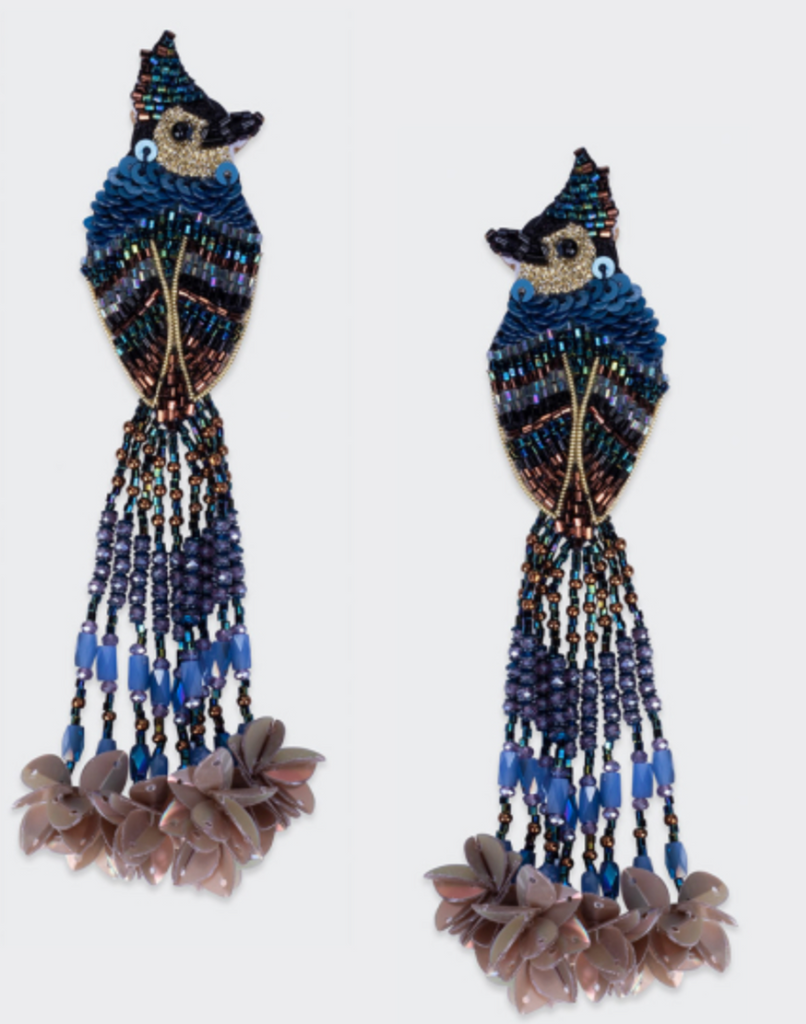 Blue + Brown beaded blue jay earrings with long beaded tails hanging off of each earring