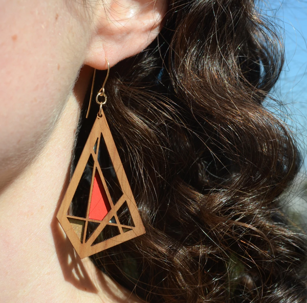 Geo Wood Azul Earrings