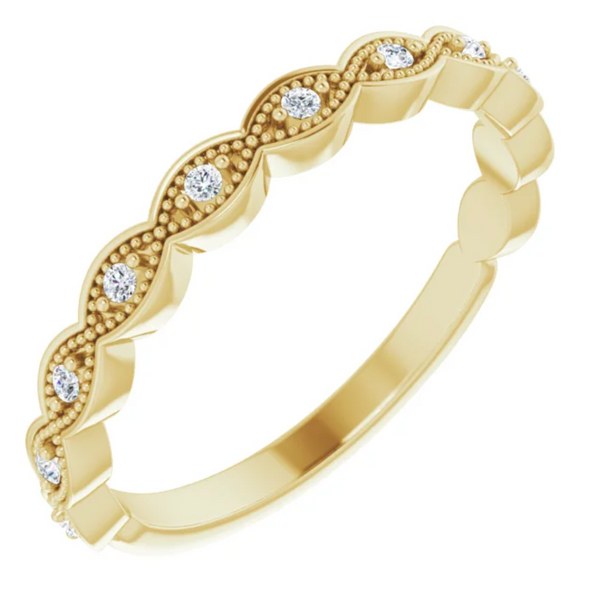 14k Yellow Gold Diamond Scalloped Band