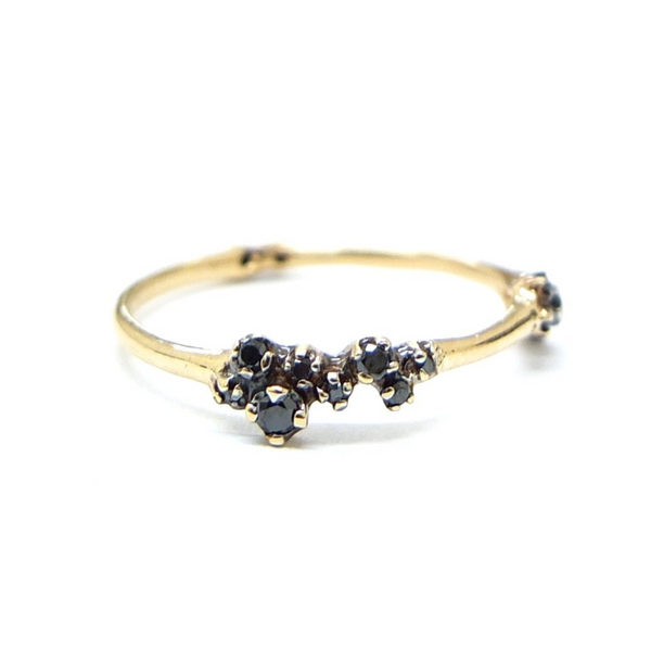 Black Diamond Cluster Ring