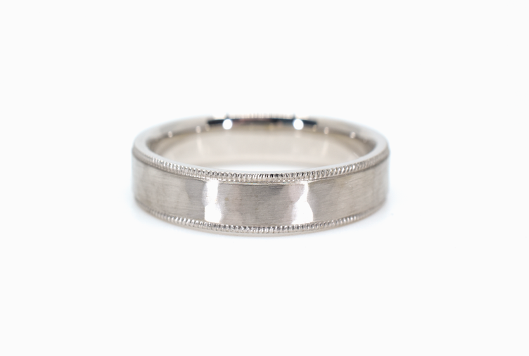 14K White Gold Flat Milgrain Hammered Finish AdornmentandTheory
