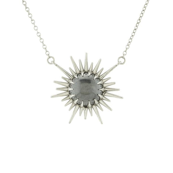 Sun Rays Necklace with Hematite