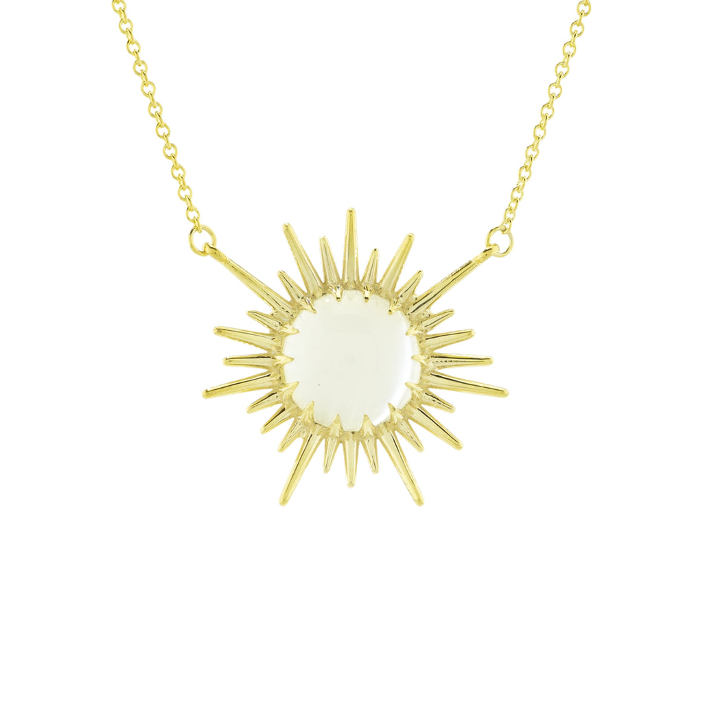 Sun Rays Necklace with Moonstone