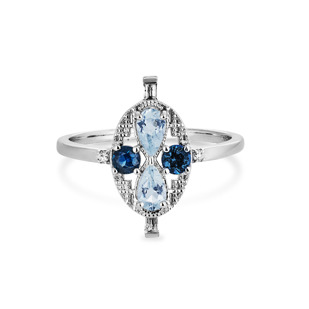 """The Elizabeth"" Fair Trade Aquamarine and Australian sapphire"