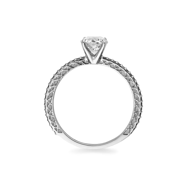 """Signature Solitaire"" 14K White Gold + Cubic Zirconia"