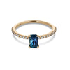 Fair Trade Australian Teal Sapphire Emerald Cut 14k Micro Pave