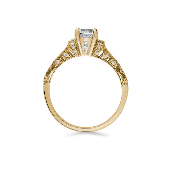 """Josephine"" White Sapphire and Melee Diamond Gold Ring"