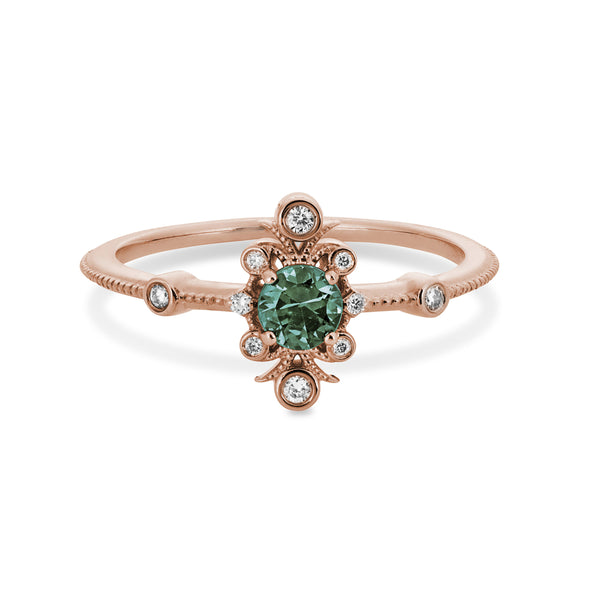 """Sophia"" Rose Gold Band with Green Sapphire + Accent Diamonds"