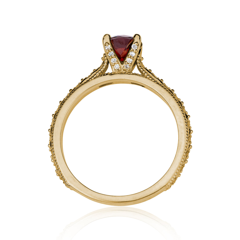Victorian Mozambique Garnet Diamond Engagement Ring