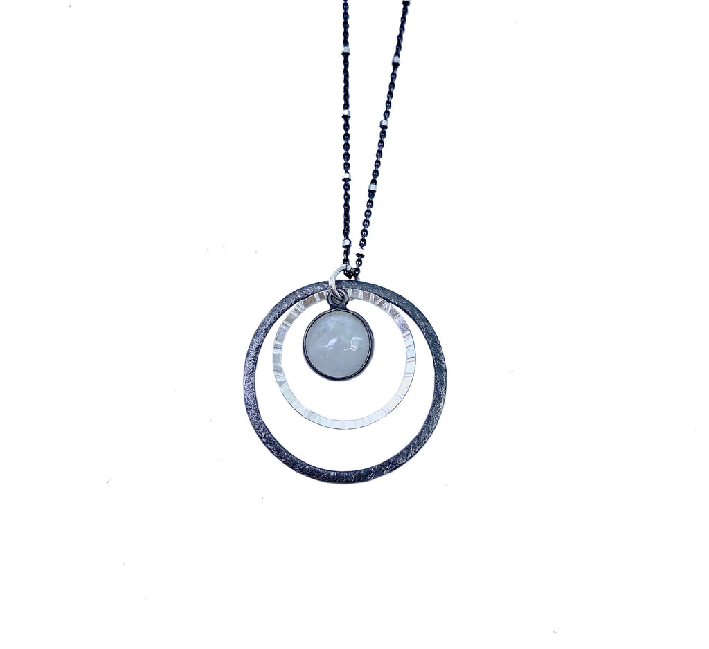 Oxidized Open Circle + Moonstone Pendant Necklace