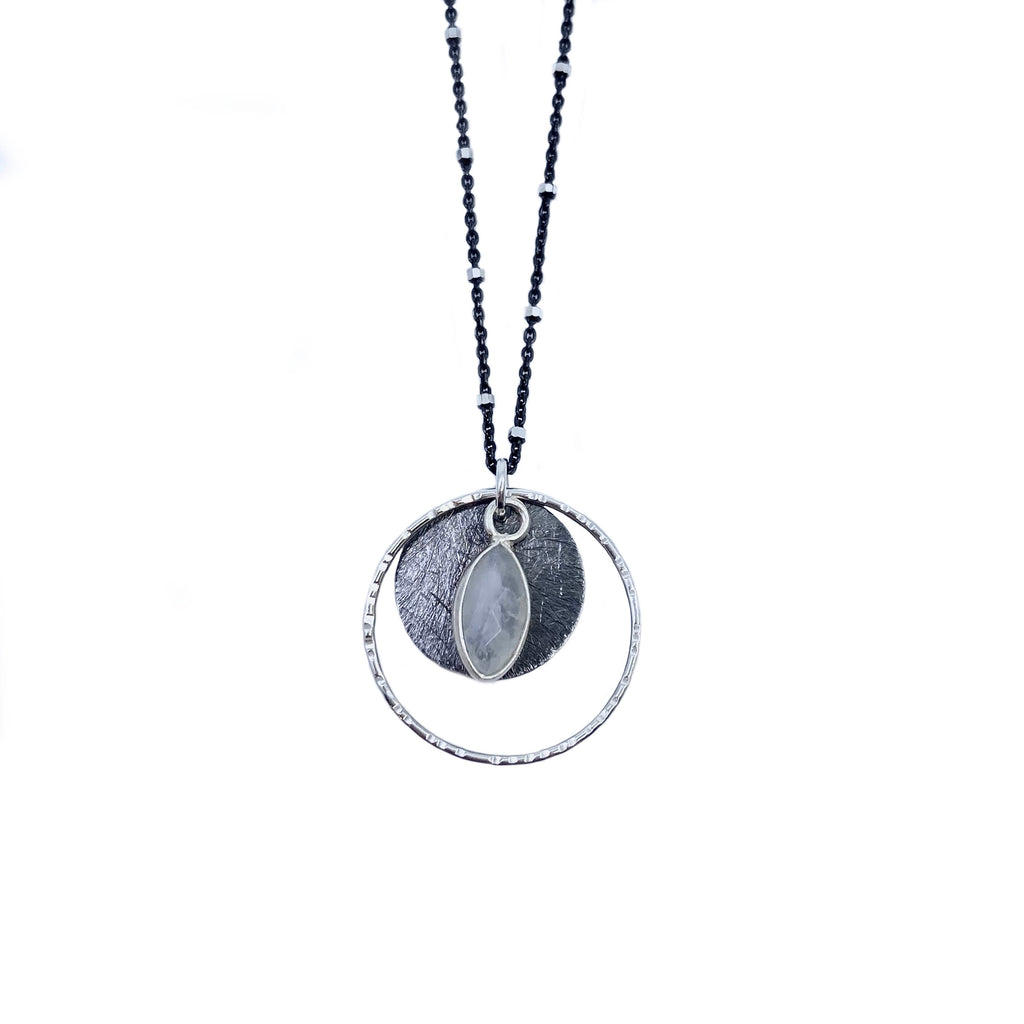 Circle Disc + Marquise Moonstone Necklace