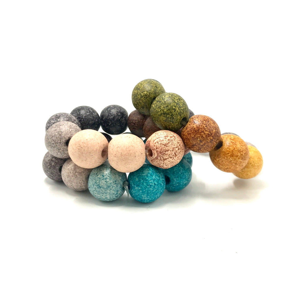 Naturally Dyed Ceramic Large Bead Bracelet