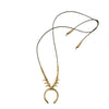 Brass Beaded Crescent Pendant Necklace