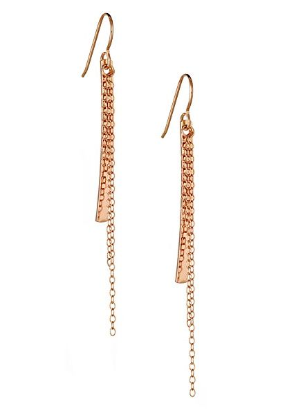 Rose gold bar and chain dangle earrings, on white background.