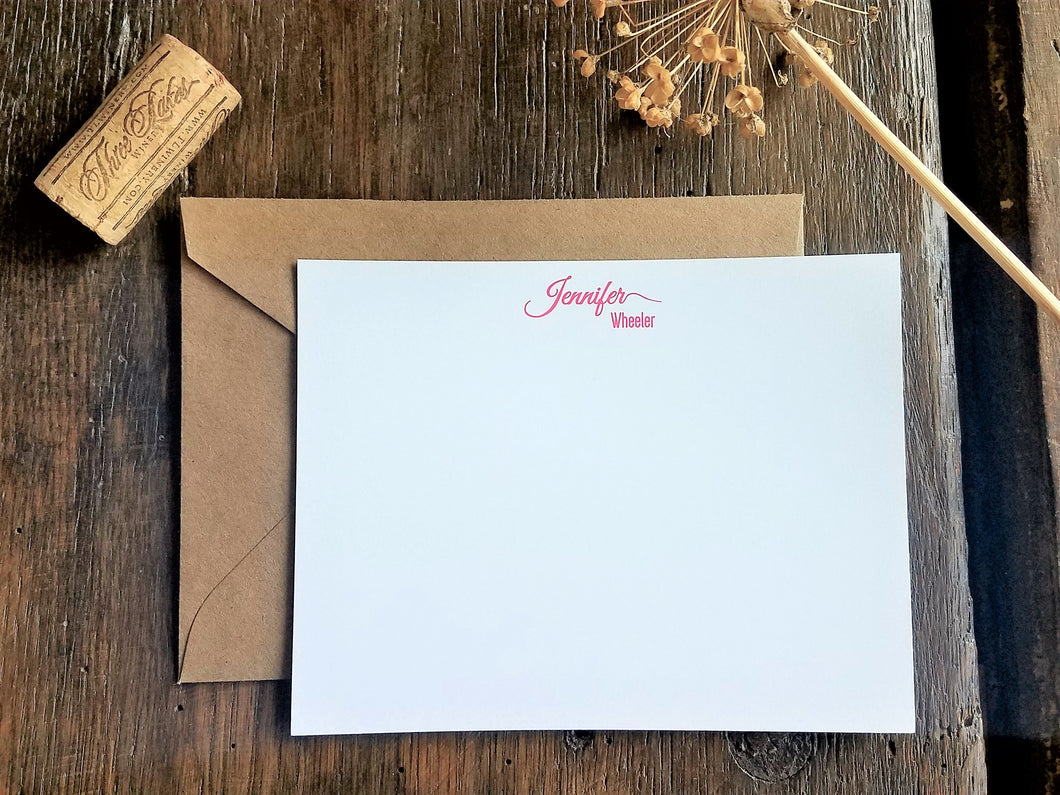 Personalized Flat Cards / Monogram Flat Note Cards / Personalized stationary set / Bridesmaid Groomsmen gift / calligraphy script Stationery